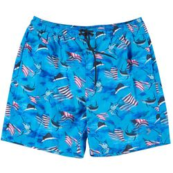 Mens Patriotic Fish Print Boardshorts