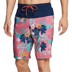 Mens Bondi Hawaiian Floral Colorblocked Boardshorts