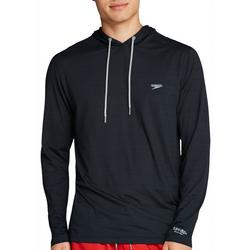 Mens Solid Hooded Long Sleeve Swim Shirt