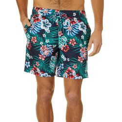 Caribbean Joe Mens Hibiscus & Palms Volley Swim