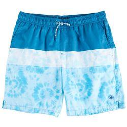 Caribbean Joe Mens Tie Dye Stripe Swim Trunks