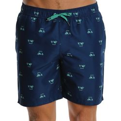 PGA TOUR Mens Golf Cart Print Volley Swim Trunks