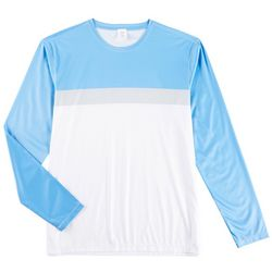 Mens Colorblocked Long Sleeve Swim T-Shirt