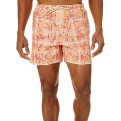 Mens Plaid & Bamboo Swim Trunks