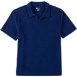 Mens Solid Terry Polo Shirt