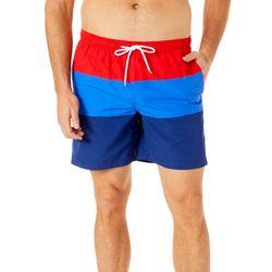 Mens Stripe Print Swim Trunks