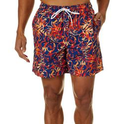 Mens Tropical Leaf Swim Trunks