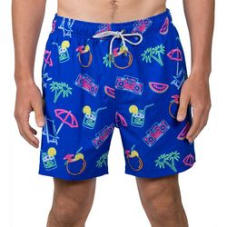 Vintage Summer Mens Retro Neon Swim Shorts