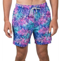 Vintage Summer Mens Palm Leaf Swim Shorts