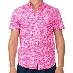 Vintage Summer Mens Flamingo Button Down Short Sleeve Shirt