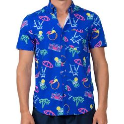 Vintage Summer Mens Retro Neon Short Sleeve Shirt