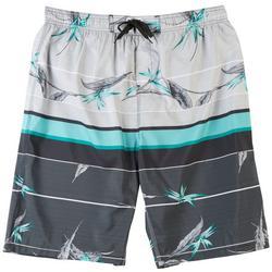 Mens Gravity Tropical Striped E-Boardshorts