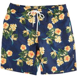 Distortion Mens Yellow Hibiscus Print Volley Shorts