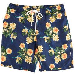 Mens Yellow Hibiscus Print Volley Shorts