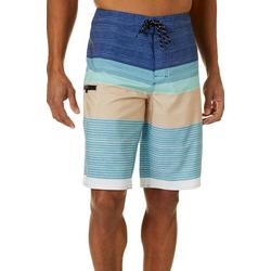 Mens Saltwater Stripe Print Boardshorts