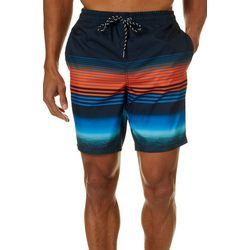 Distortion Mens Colorblocked Stripe Boardshorts