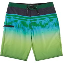 Point Zero Mens Palm Stripe Volley Shorts