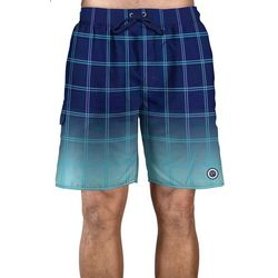 Newport Blue Mens Plaid Ombre Swim Trunks
