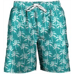 Mens Palm Print Swim Trunks