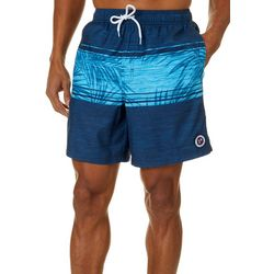 Newport Blue Mens Dancing Palms Stripe Boardshorts