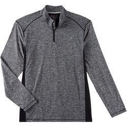 Reel Legends Mens Heathered Zipper Placket Pullover