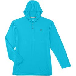 Reel Legends Mens Long Sleeve Button Placket Solid Hoodie