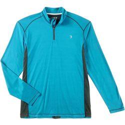 Reel Legends Mens Solid Zipper Placket Pullover
