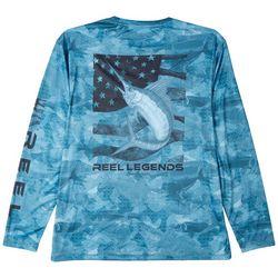 Reel Legends Mens Reel-Tec Swordfish Flag Long Sleeve Shirt