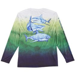 Reel Legends Mens Reel-Tec Shark Summer Long Sleeve T-Shirt