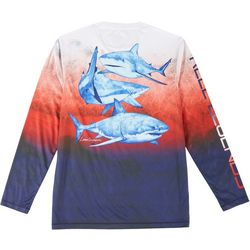 Reel Legends Mens Long Sleeve Shark T-shirt