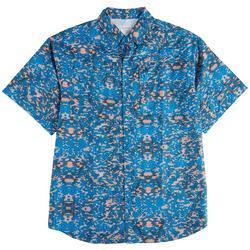 Mens Button Down Abstract Print Shirt