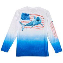 Reel Legends Mens Reel-Tec Americana Shark T-Shirt