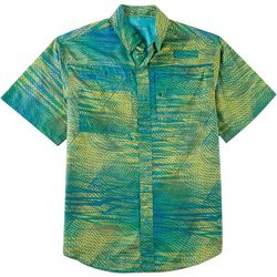Reel Legends Mens Saltwater Scan Spiral Short Sleeve Shirt