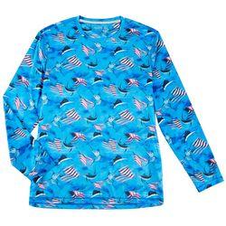Reel Legends Mens Reel-Tec Patriotic Fish T-Shirt