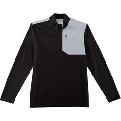 Mens Colorblocked Zipper Placket Pullover