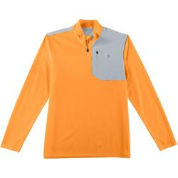 Mens Colorblocked Zipper Placket Pullover