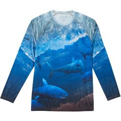 Reel Legends Mens Reel-Tec Great White Long Sleeve T-Shirt