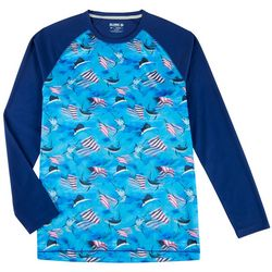 Reel Legends Mens Freeline Patriotic Fish Long Sleeve Shirt