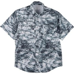 Mens Saltwater II Aqua Palms Short Sleeve Shirt