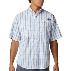 Columbia Mens PFG Super Tamiami Sail Blue Plaid Shirt
