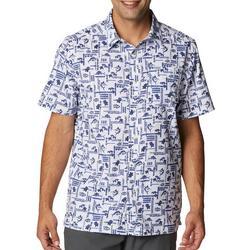 Mens Super Slack Tide Tiki Marlin Print Camp Shirt