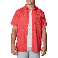 Columbia Mens All-Over American Flag Camp Shirt