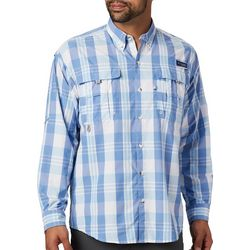 Columbia Mens PFG Super Bahama Plaid Print Shirt