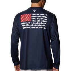 Columbia Mens Long Sleeve PFG Fish Flag T-Shirt