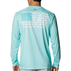 Columbia Mens Long Sleeve PFG Fish Flag T-Shirt