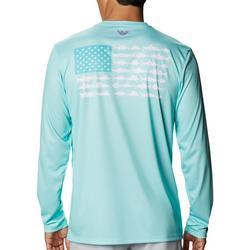 Mens Long Sleeve PFG Fish Flag T-Shirt