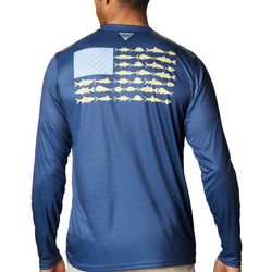 Columbia MensLong Sleeve PFG Fish Flag T-Shirt