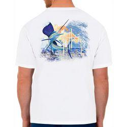 Guy Harvey Mens Sunset Sailfish Short Sleeve T-Shirt