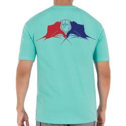 Mens Red White Blue Sailfish Short Sleeve T-Shirt