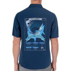 Guy Harvey Mens Short Sleeve Blue Marlin Embroidered